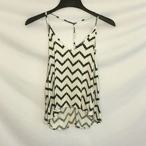 Forever 21 Black and White Chevron Tank Top